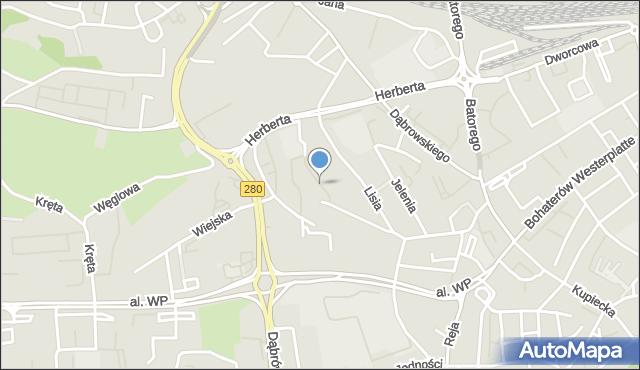 Zielona Góra, Lisia, mapa Zielona Góra
