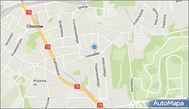 Chorzów, Lwowska, mapa Chorzów