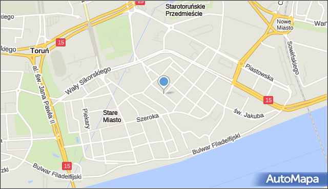 Toruń, Małe Garbary, mapa Torunia