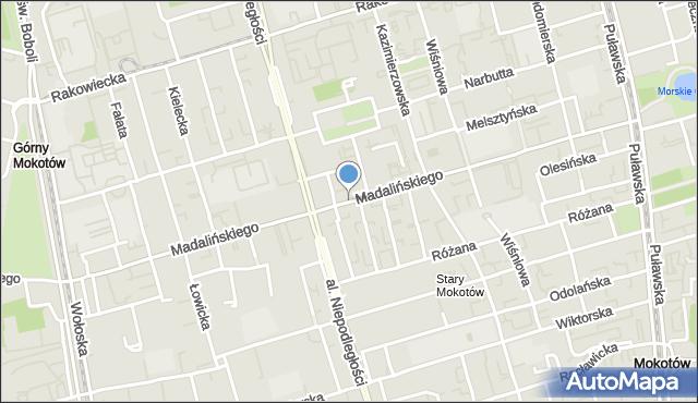 Warszawa, Madalińskiego Antoniego Józefa, mapa Warszawy