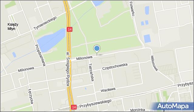 Łódź, Milionowa, mapa Łodzi