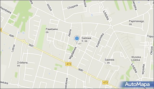 Piotrków Trybunalski, Migdałowa, mapa Piotrków Trybunalski