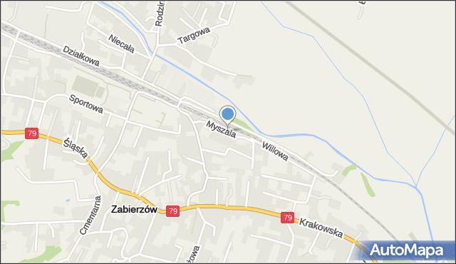Zabierzów, Myszala, mapa Zabierzów
