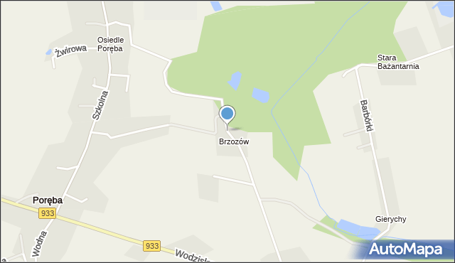 Poręba, Narutowicza Gabriela, mapa Poręba