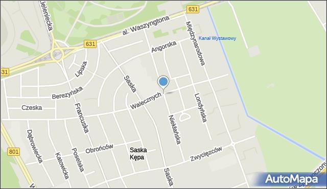Warszawa, Niekłańska, mapa Warszawy