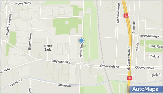 Łódź, Nowe Sady, mapa Łodzi