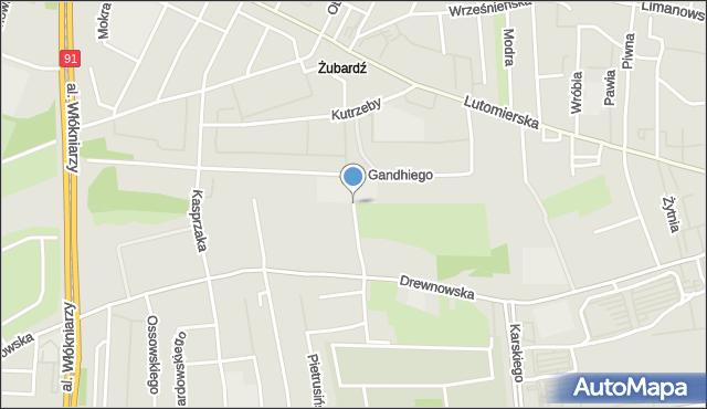 Łódź, Odolanowska, mapa Łodzi