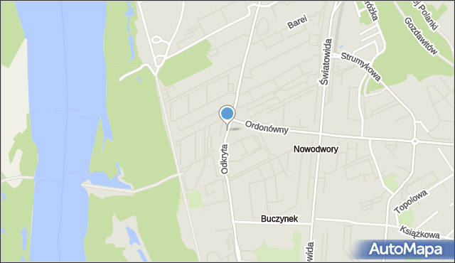 Warszawa, Odkryta, mapa Warszawy
