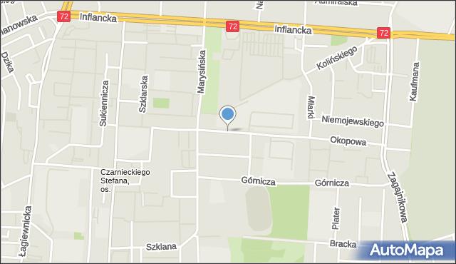Łódź, Okopowa, mapa Łodzi