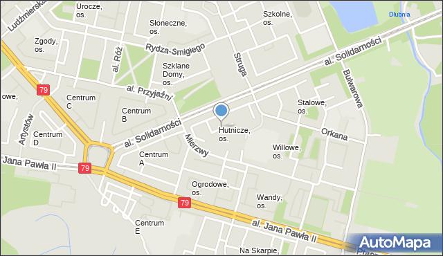 Kraków, Osiedle Hutnicze, mapa Krakowa