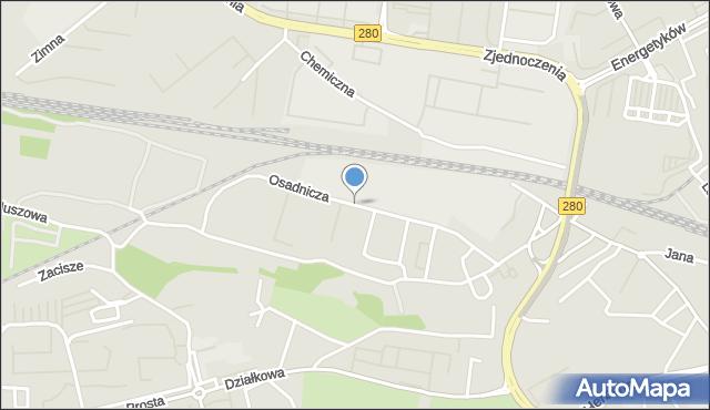 Zielona Góra, Osadnicza, mapa Zielona Góra