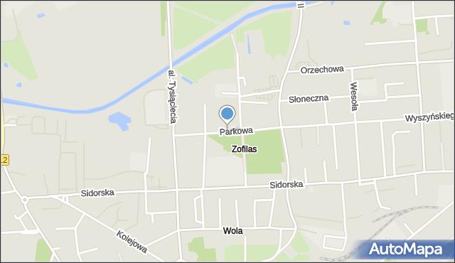 Biała Podlaska, Parkowa, mapa Białej Podlaskiej