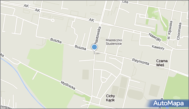 Kraków, Piastowska, mapa Krakowa