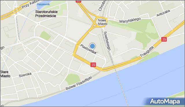 Toruń, Piastowska, mapa Torunia