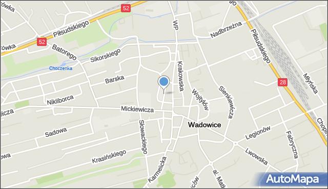 Wadowice, Piaskowa, mapa Wadowice