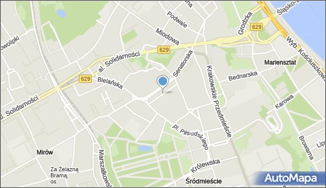 Warszawa, Plac Teatralny, mapa Warszawy