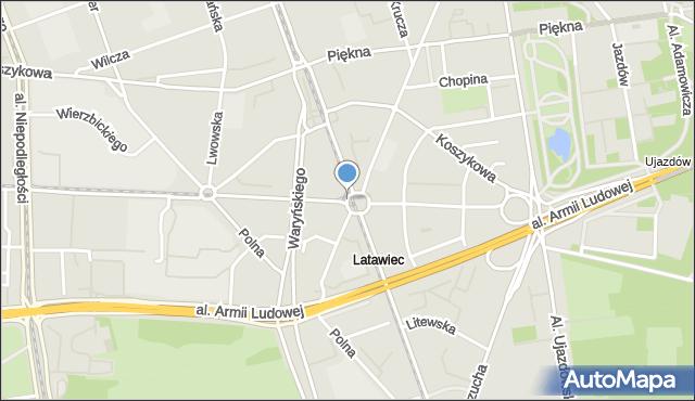 Warszawa, Plac Zbawiciela, mapa Warszawy