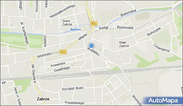 Zabrze, Plac Wolności, mapa Zabrza