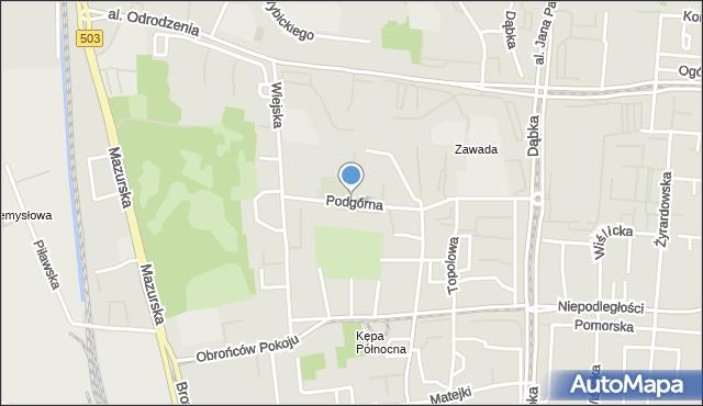 Elbląg, Podgórna, mapa Elbląga