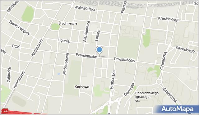 Katowice, Powstańców, mapa Katowic