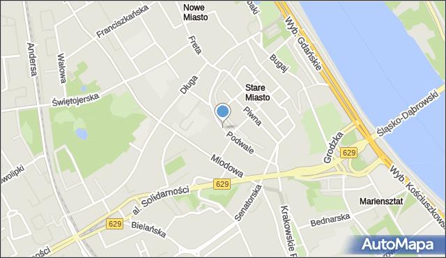 Warszawa, Podwale, mapa Warszawy