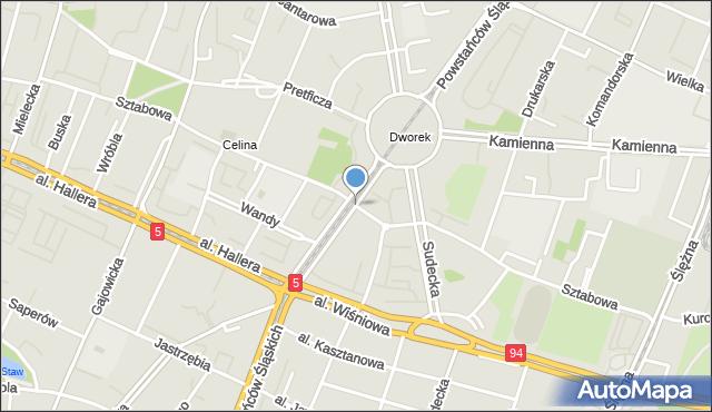 Wrocław, Powstańców Śląskich, mapa Wrocławia
