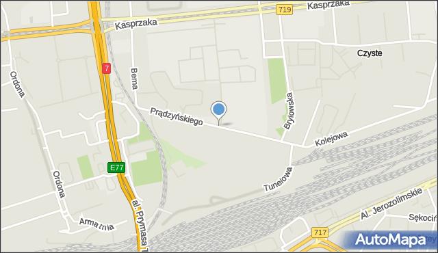 Warszawa, Prądzyńskiego Ignacego, gen., mapa Warszawy