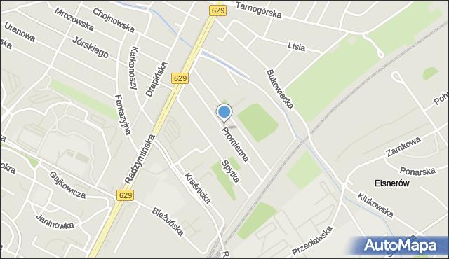 Warszawa, Promienna, mapa Warszawy