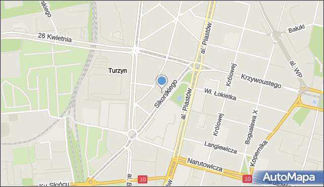 Szczecin, Pułaskiego Kazimierza, gen., mapa Szczecina