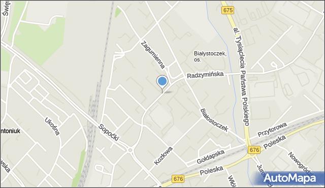 Białystok, Radzymińska, mapa Białegostoku