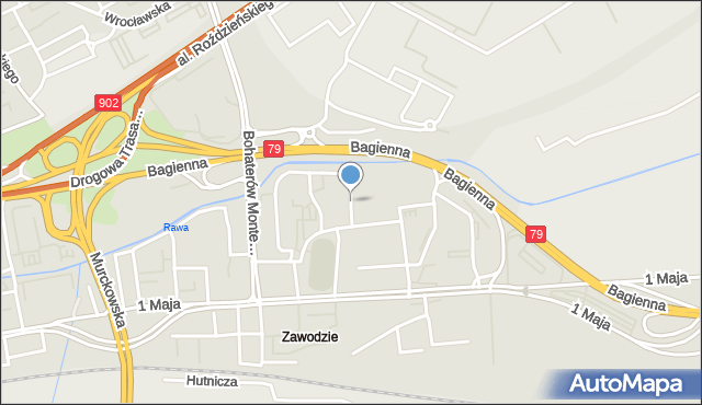 Katowice, Saint Etienne, mapa Katowic