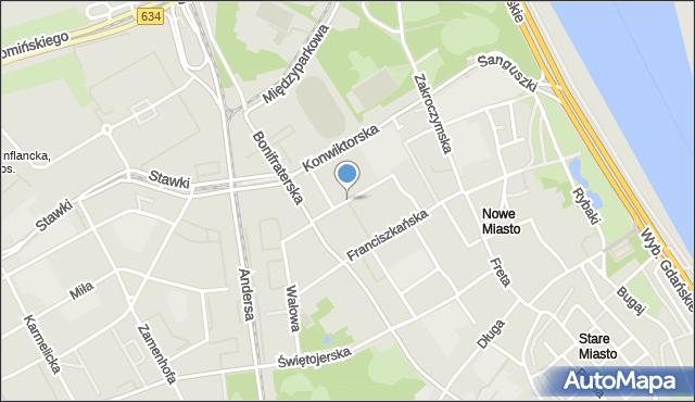 Warszawa, Sapieżyńska, mapa Warszawy