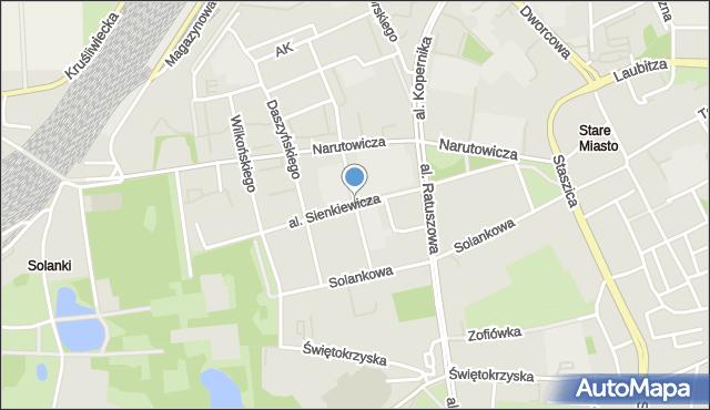 Inowrocław, Sienkiewicza, al., mapa Inowrocławia