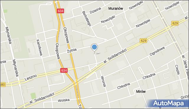 Warszawa, Skwer Wyszyńskiego Stefana, ks. kard., mapa Warszawy