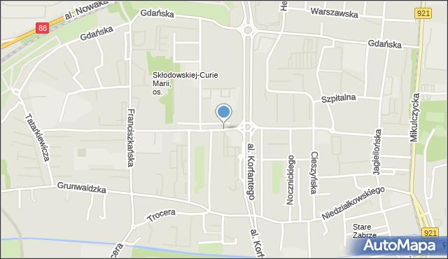 Zabrze, Skłodowskiej-Curie Marii, mapa Zabrza