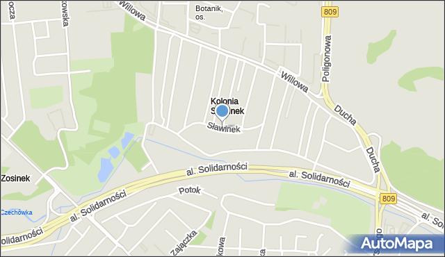 Lublin, Sławinek, mapa Lublina