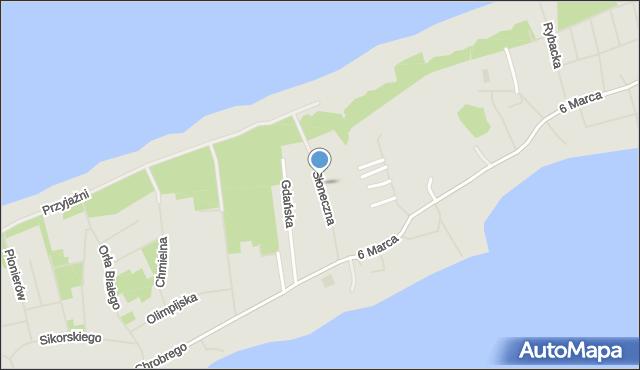 Mielno, Słoneczna, mapa Mielno