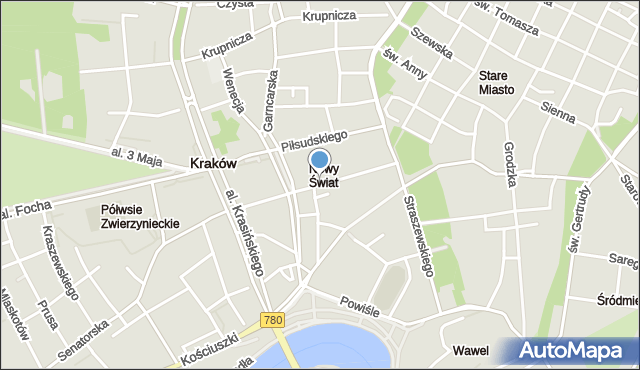 Kraków, Smoleńsk, mapa Krakowa