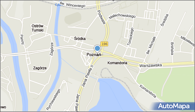 Poznań, Śródka, rondo, mapa Poznania