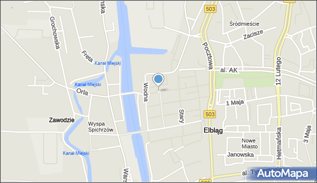 Elbląg, Studzienna, mapa Elbląga