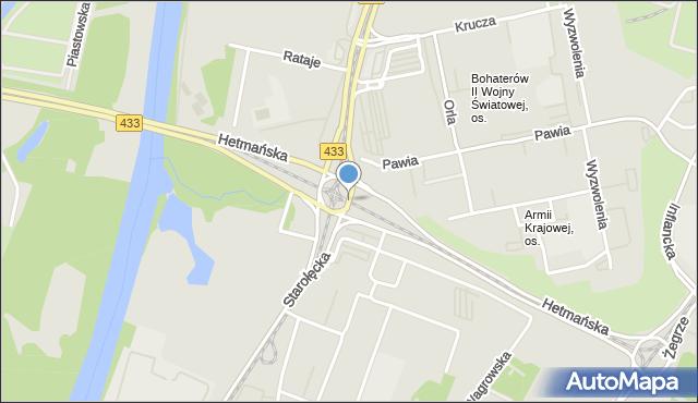Poznań, Starołęka, rondo, mapa Poznania