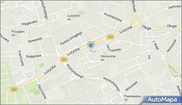 Zielona Góra, Sucharskiego Henryka, mjr., mapa Zielona Góra