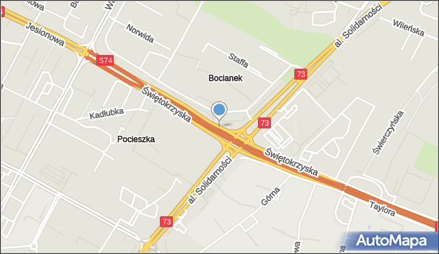 Kielce, Świętokrzyska, mapa Kielc