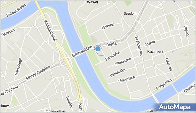 Kraków, św. Stanisława, mapa Krakowa