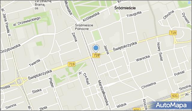 Warszawa, Świętokrzyska, mapa Warszawy