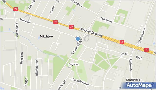 Łódź, Szczecińska, mapa Łodzi