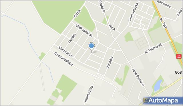 Ostrzeszów, Szarych Szeregów, mapa Ostrzeszów