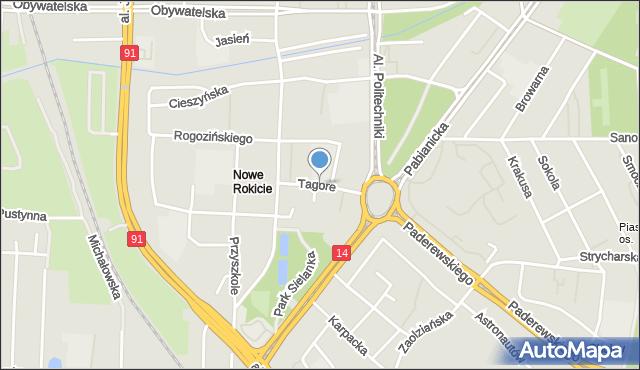 Łódź, Tagore'a Rabindranatha, mapa Łodzi