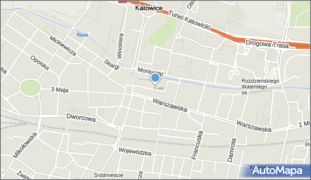 Katowice, Teatralna, mapa Katowic