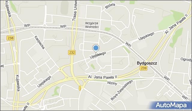 Bydgoszcz, Ujejskiego Kornela, mapa Bydgoszczy